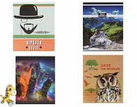 Зошит Серія Eco life, Hipster Style, Wild animals А-5 скоба, 96 арк., офсет, клітінка 4 видов /10/