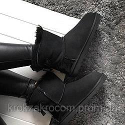 Ботинки женские UGG Cowboy Half Black  натуральная овчина replica AAA
