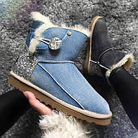 Ботинки женские UGG Cowboy Half blue  натуральная овчина replica AAA