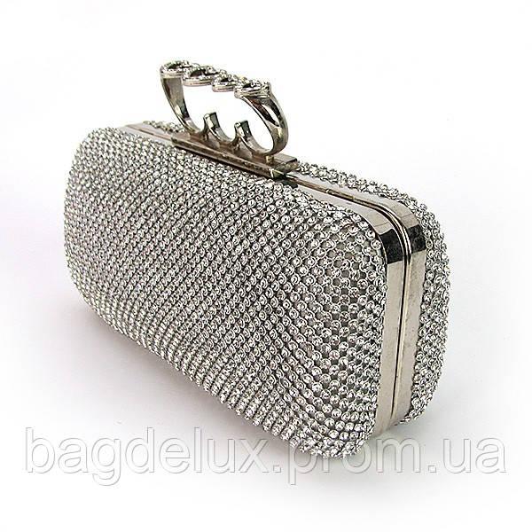 214f80345db9 Клатч сердце со стразами женский выпускной вечерний Rose Heart серебро 0921  - Bag De Lux -