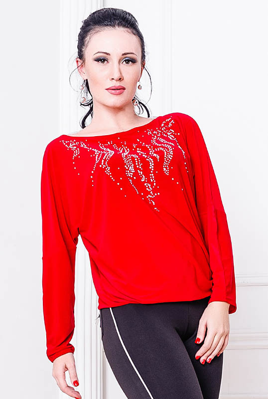 Красная блузка со стразами -Джейн-