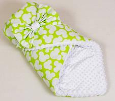Зимний детский конверт с утеплителем Яркий Микки 80 х 85 см. салатовый ТМ BabySoon