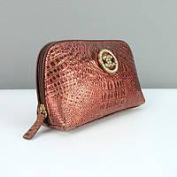 Косметичка кожаная женская клатч коричневый Chanel 912-9122