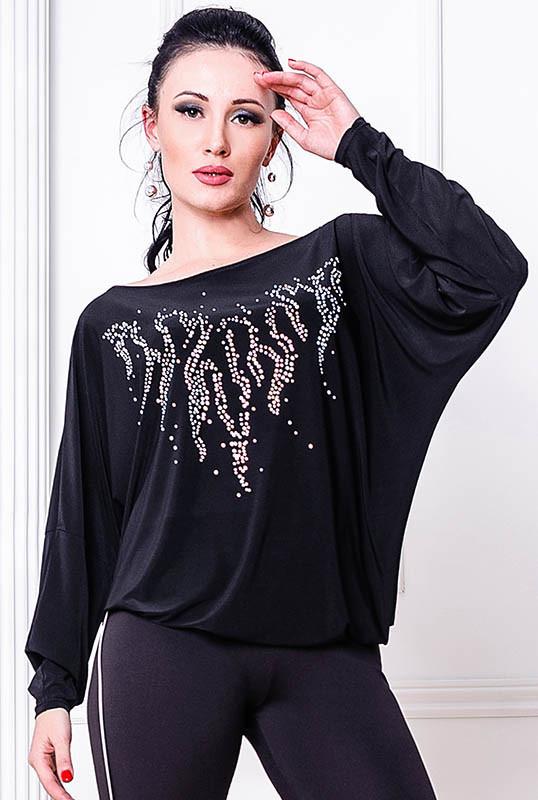 Черная трикотажная блузка -Джейн- БАТАЛ