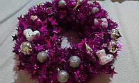 """Новогодний/Рождественский венок на дверь """"Яркий малиновый"""", с колокольчиком"""