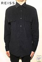 Рубашка черная в горошек Reiss р. L 52 мужская коттон