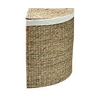 Корзина для белья плетеная угловая с крышкой Home4You MAYA-1  corner 43x43xH63cm  natural