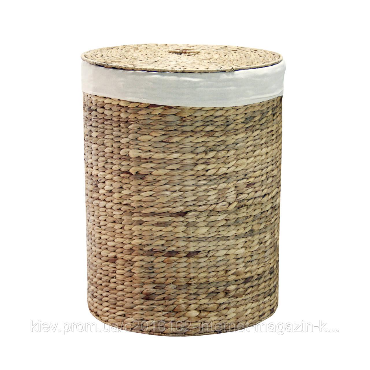 Корзинка для белья круглая плетеная с крышкой Home4You MAYA-1  D42xH55cm  natural