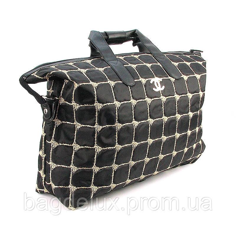 8b2df4053a74 Сумка текстильная большая женская черная Chanel 5338 - Bag De Lux -  Интернет магазин сумок в