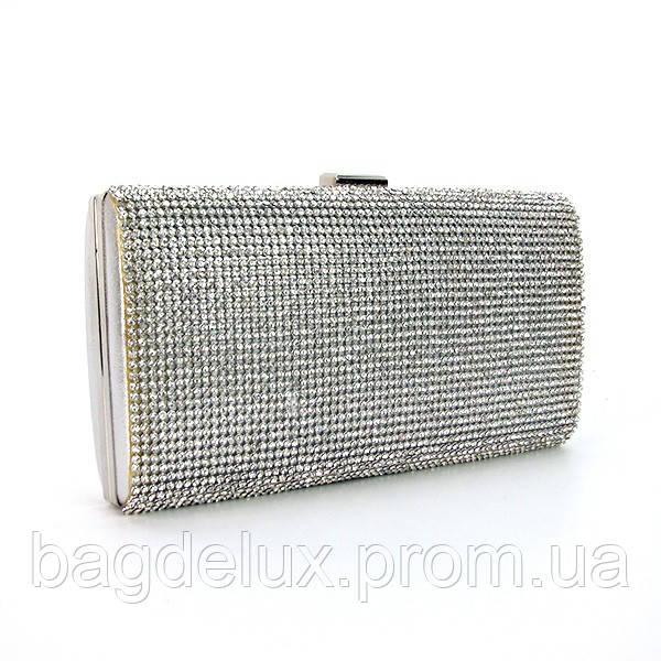 b15b768ad387 Клатч-бокс из камней женский выпускной вечерний серебро Rose Heart 20516 -  Bag De Lux