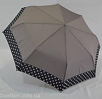 Однотонный зонтик полуавтомат с каймой по куполу