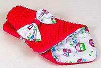 """Плюшевый конверт на выписку зимний TM BabySoon """"Нежные совушки"""" 80 х 85см. малиновый"""