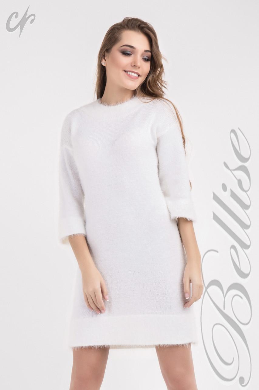 Модное вязаное платье свободного силуэта 42-48 тёмно-серое