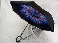 Новинка зонты обратного сложения Smart с красочными узорами под куполом, фото 1