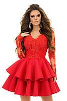 """Нарядное приталенное платье-мини """"Leila"""" с расклешенной юбкой из неопрена (3 цвета)"""