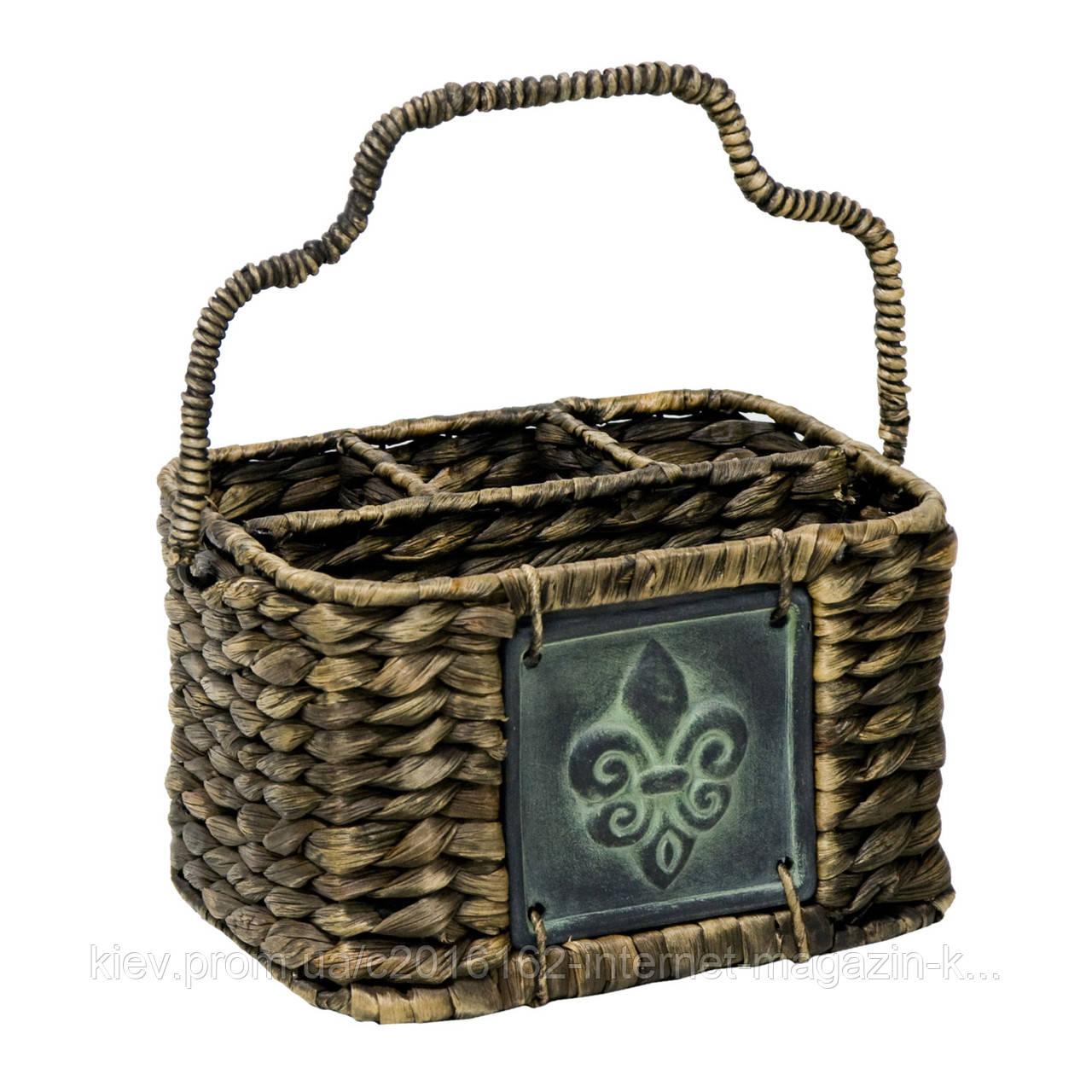 Корзинка для столовых приборов плетеная Home4You CODY  21x15xH13cm  brown