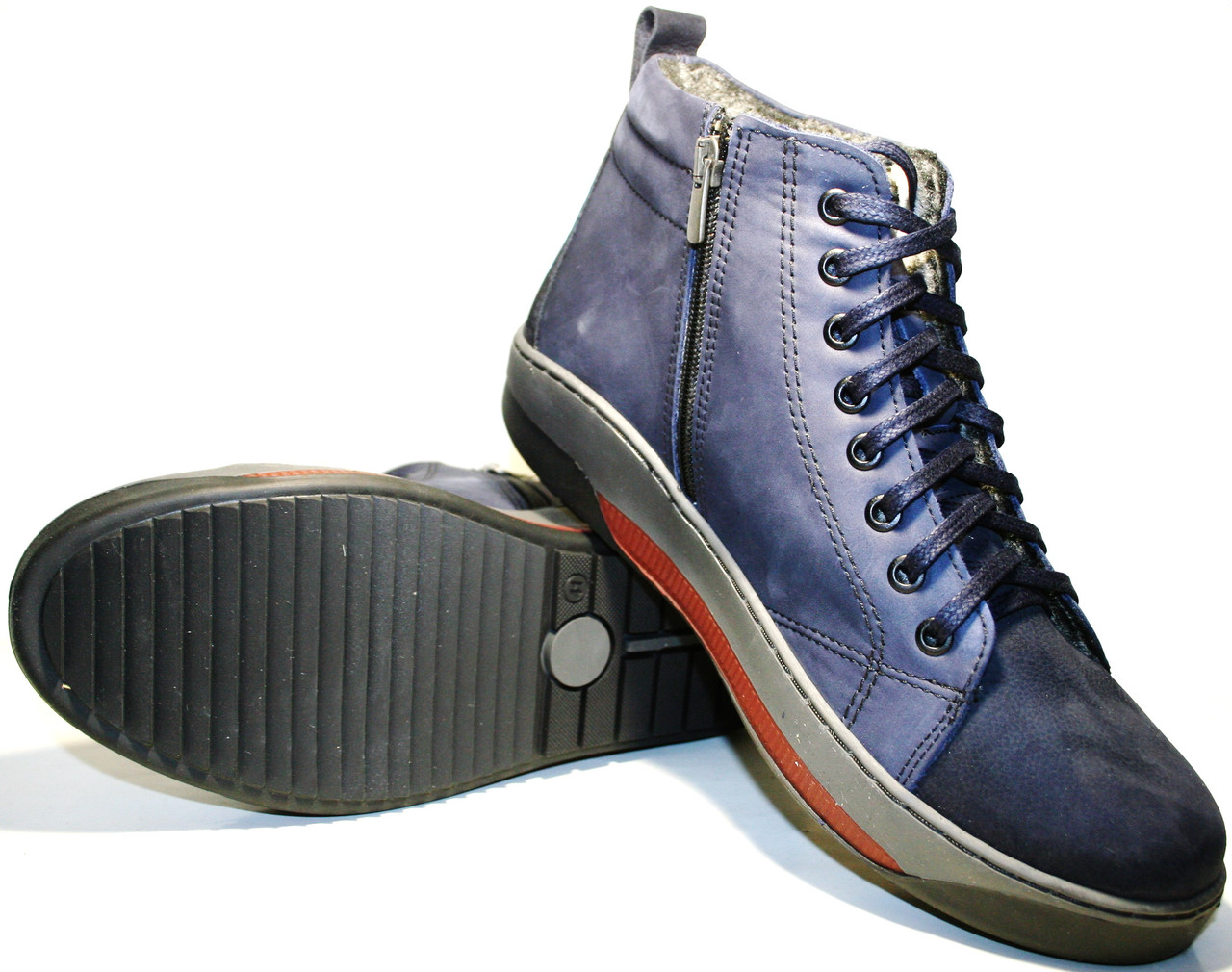 6f816dfcb100 Молодежные зимние ботинки мужские кожаные синие кожаные Pandew - Интернет- магазин