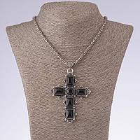 Подвеска Крест с черным агатом на цепочке