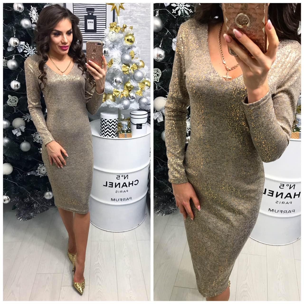 d0bedcb1a2de Платье женское (801 2) турецкий трикотаж люрекс золотое  продажа ...