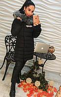 Женская зимняя куртка с пышним мехом и брошкой, фото 1