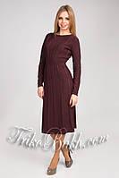 Вязаное шерстяное платье миди коричнево-бордовое
