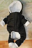 Комбинезон черный с капюшоном на утеплителе Полосы