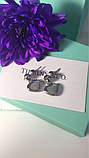 Сережки сердечки тиффани, позолота, фото 2
