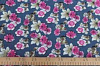 Джинсовая ткань рубашечная  (цветы)