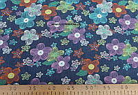Джинсовая ткань  рубашечная  (разноцветный ромашки)