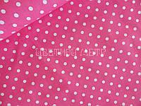Ткань польский хлопок белый горошек 7 мм на розовом