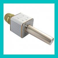 Беспроводной микрофон для караоке bluetooth Q7 MS (розовый, золото)!Акция