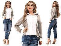 Стильная молодежная ультрамодная серая комбинированная ангоровая кофточка с имитацией рубашки. Арт-2617/39