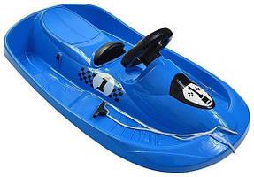 Сани Пластиковые с рулем, цвет синий (5735182388)