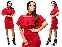 25e0d2282a5 Красное нарядное облегающее платье с воротничком и воланом на груди. Арт -2631 39