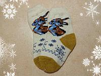 Детские теплые носки с зайчиком 14 см, р. 23-24 шерстяные носочки для детей