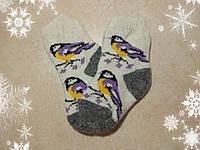 Детские теплые носки с синичками 13 см, р. 22-23 шерстяные носочки для детей