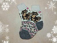 Детские шерстяные носки с енотом 16 см, р. 26-27, для девочек