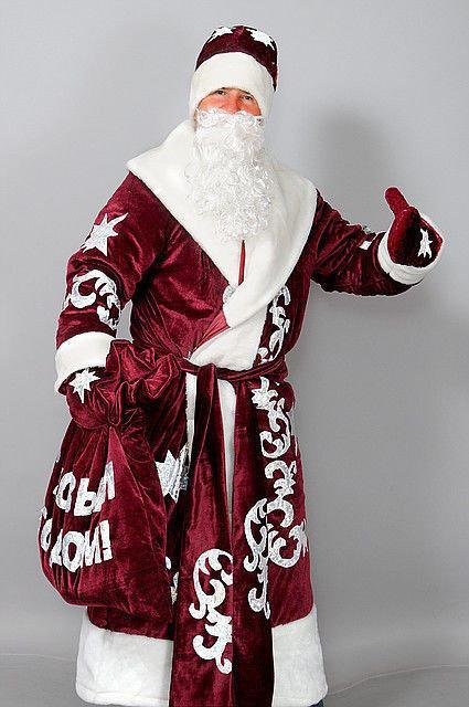 Новогодний костюм Деда Мороза 58-60 размер бордовый