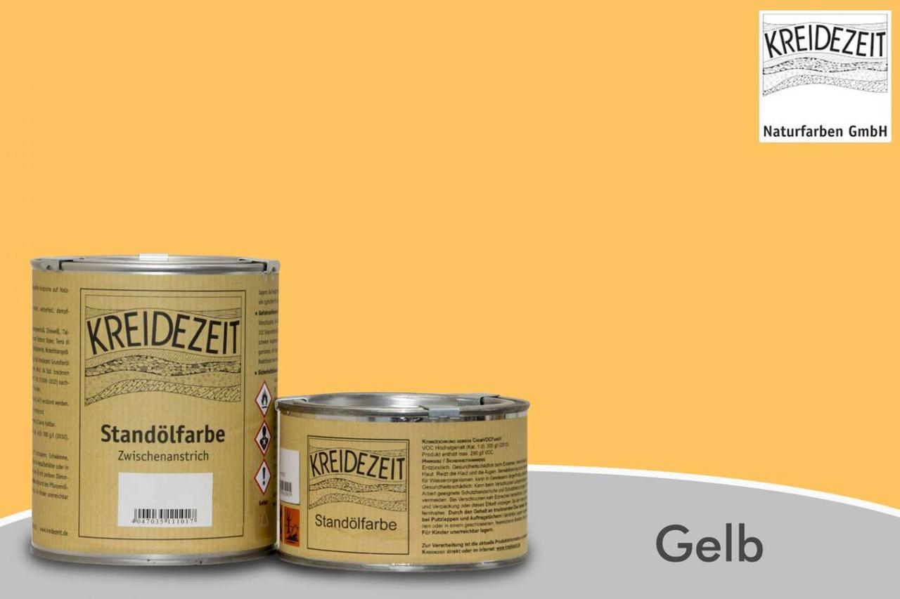 Стандолевая масляная краска жирная, верхний слой / Standölfarbe Schlussanstrich gelb, желтая  0,75 l