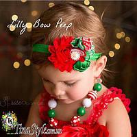 Повязка на голову Новогодняя Рождественская цветы красная повязочка  для детей девочек новорожденной
