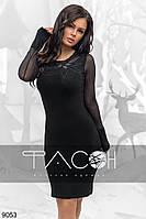Черное элегантное облегающее платье со стразами. Арт-2639/39