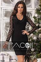 Черное элегантное облегающее платье со стразами и длинными гипюровыми рукавами. Арт-2640/39