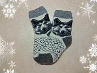 Детские новогодние носки Хаски 17 см, теплые зимние носочки