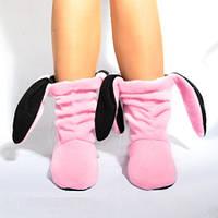 Тапочки Зайчики розовые с черными ушами, фото 1