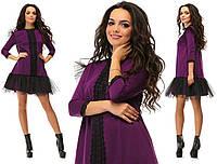 Фиолетовое нарядное трикотажное короткое платье с кружевной вставкой и черным фатином на юбке. Арт-2643/39