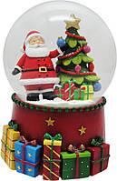 Сувенир водн.шар d-100мм  Дед Мороз, музыкальный