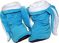 Тапочки Зайчики голубые с белыми ушами, фото 1