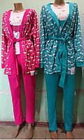 Халат с майкой и штанами для дома 44-52 р, комплекты для дома оптом от производителя