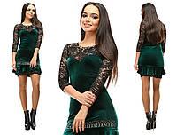 Шикарное нарядное зеленое бархатное платье со стразами и черными гипюровыми вставками. Арт-2645/39
