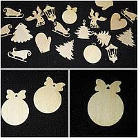 Заготовки для творчества - новогодние подвески из дерева, лазер, 3х3 см., 5/3 (цена за 1 шт. + 2 гр.), фото 1